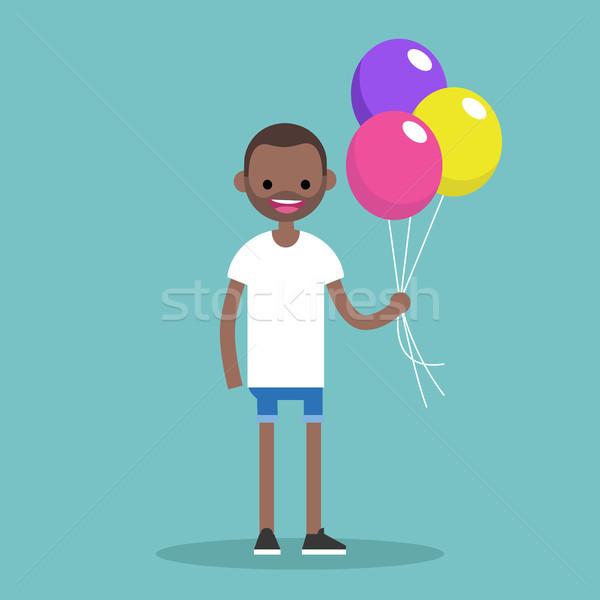 Jeunes homme noir coloré ballons Photo stock © nadia_snopek