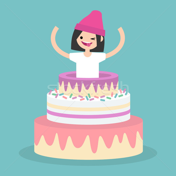 Young female character jumping out of a cake / flat editable vec Stock photo © nadia_snopek