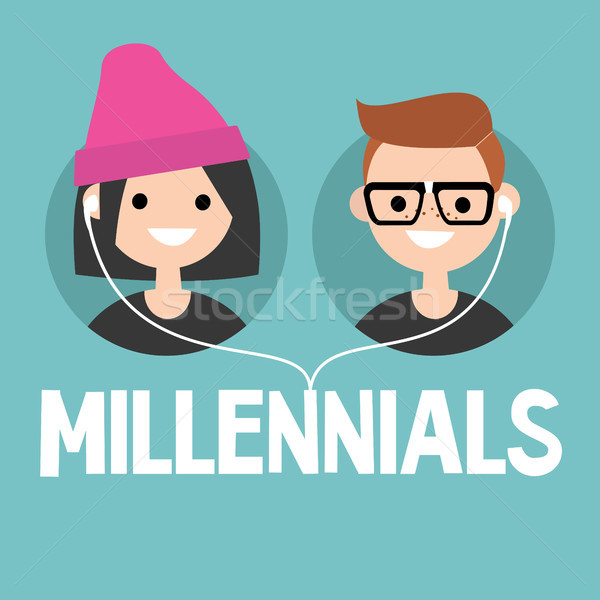 Millennials conceptual sign: young boy and girl sharing one pair Stock photo © nadia_snopek