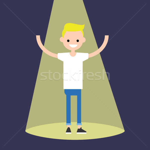 Young successful blond boy standing in the spotlight / flat edit Stock photo © nadia_snopek