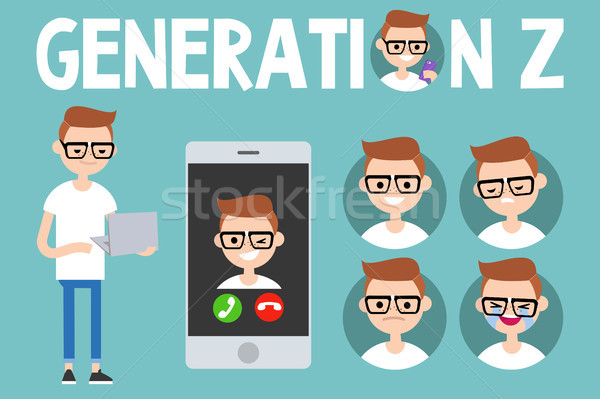 Generation Z conceptual set. sign, full length millennial charac Stock photo © nadia_snopek