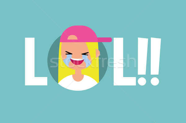 LOL conceptual illustrated sign: laughing out loud teenage girl  Stock photo © nadia_snopek