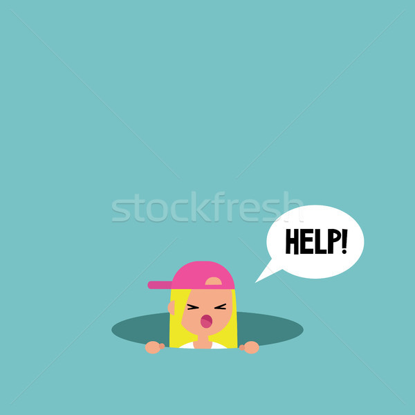 Young blond girl calling for help in the pit / editable flat vec Stock photo © nadia_snopek