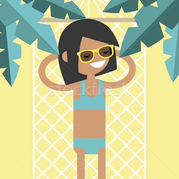 молодые женщины характер гамак пальмами Top Сток-фото © nadia_snopek