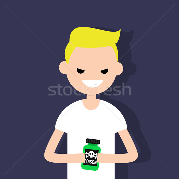 Stock photo: Young angry character holding a bottle with a poison sign / flat
