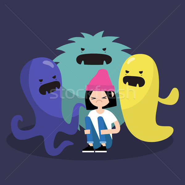 Scared female character surrounded by ugly monsters / flat edita Stock photo © nadia_snopek
