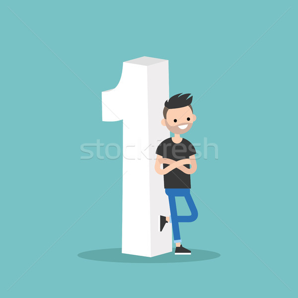 Stock photo: Number one concept. young smiling man leaning against the number