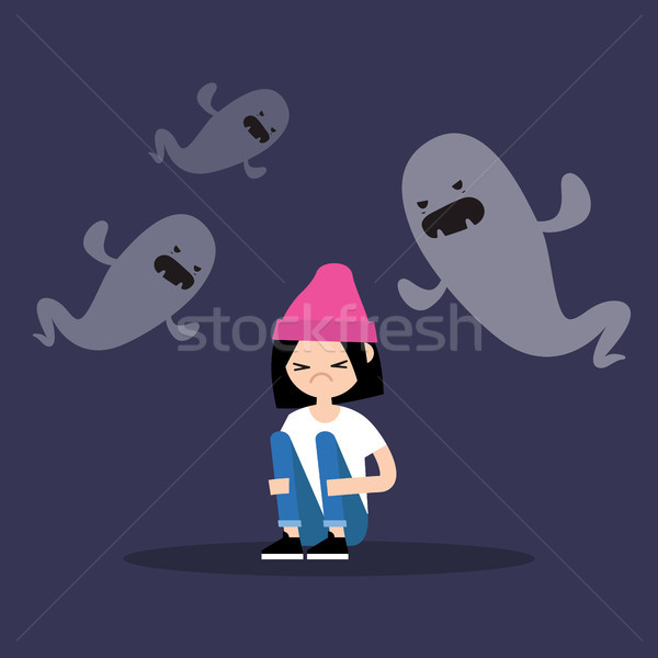 Scared girl surrounded by ghosts / flat editable illustration Stock photo © nadia_snopek