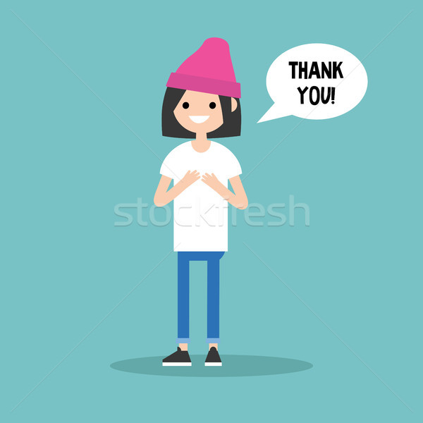 Young grateful brunette girl says 'Thank you' / flat editable ve Stock photo © nadia_snopek