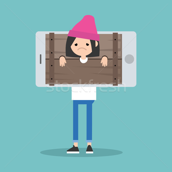 Cyberbullying conceptual illustration. young girl standing locke Stock photo © nadia_snopek