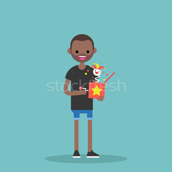Young black character holding a Jack in the box / flat editable  Stock photo © nadia_snopek