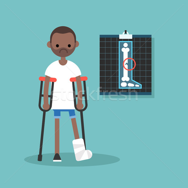 Disabled black man on crutches with broken leg / editable vector Stock photo © nadia_snopek