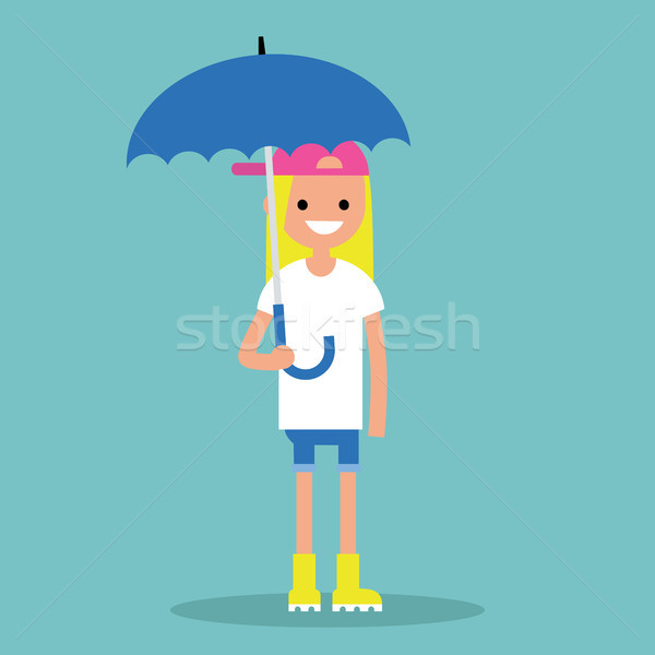 Young smiling girl with umbrella wearing yellow rubber boots / f Stock photo © nadia_snopek
