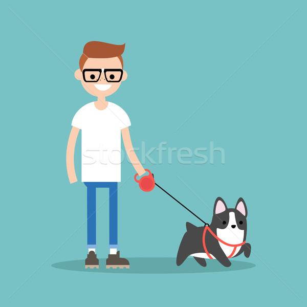 Young smiling nerd walking the dog / flat editable vector illust Stock photo © nadia_snopek