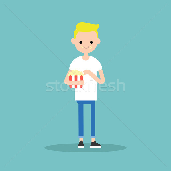young blond boy chewing popcorn / full length character. flat ve Stock photo © nadia_snopek