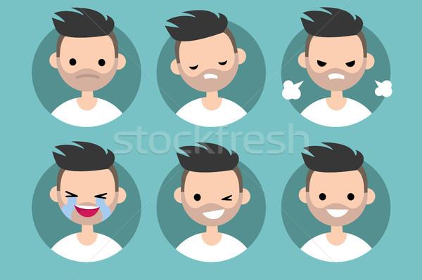 Bearded man profile pics / Set of flat vector portraits. upset,  Stock photo © nadia_snopek