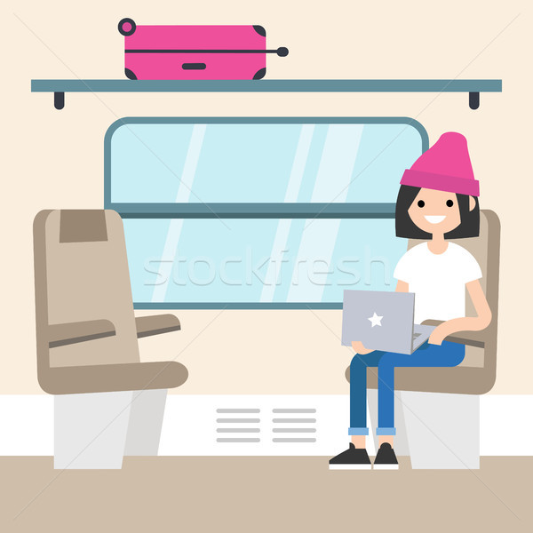 Young passenger sitting in the train compartment / editable flat Stock photo © nadia_snopek