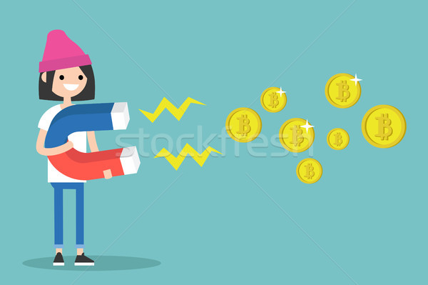 Young female character mining bitcoins with a huge magnet / flat Stock photo © nadia_snopek