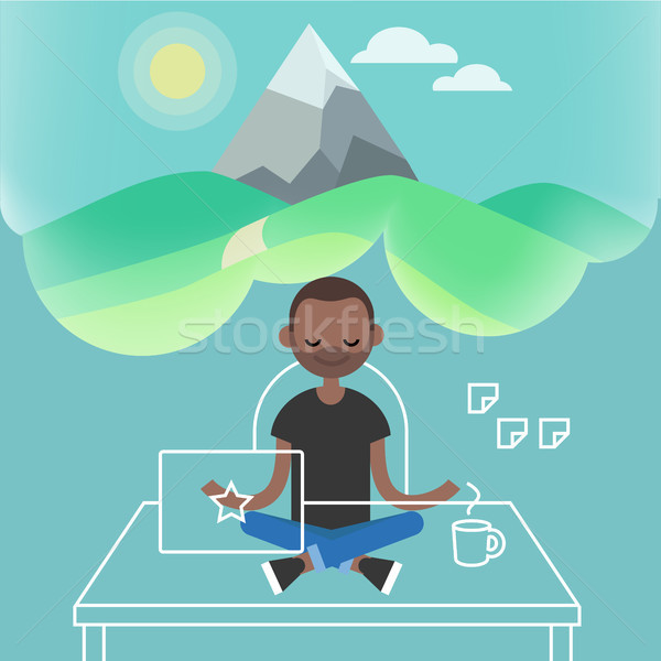 Dealing with stress. Young black character meditating in lotus p Stock photo © nadia_snopek