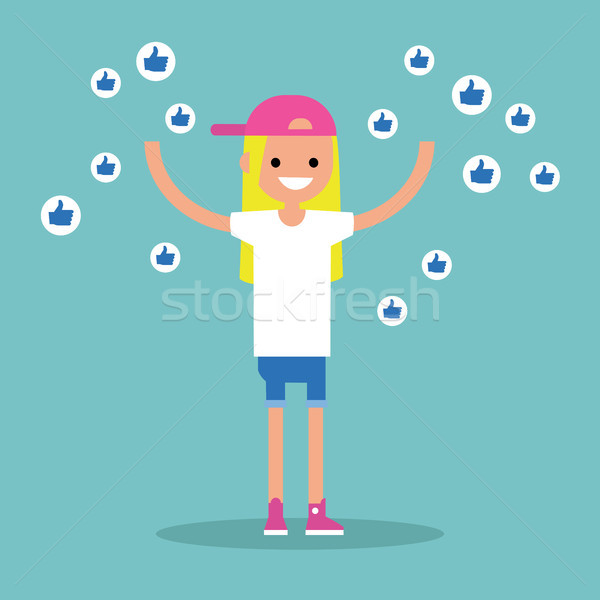 Young successful girl surrounded by like symbols raising her han Stock photo © nadia_snopek