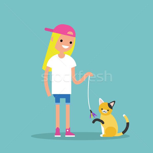 молодые женщины характер играет кошки Сток-фото © nadia_snopek