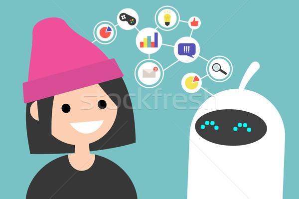 данные передача иллюстрация человека робота связи Сток-фото © nadia_snopek