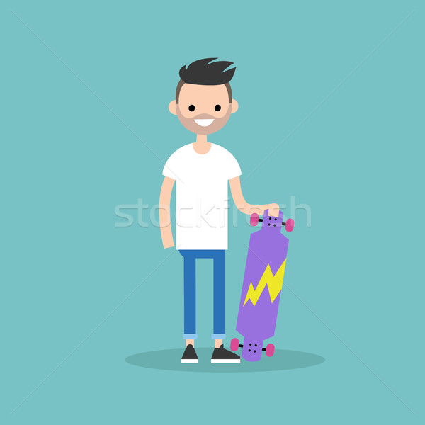 Young bearded citizen holding his long board / Flat editable vec Stock photo © nadia_snopek