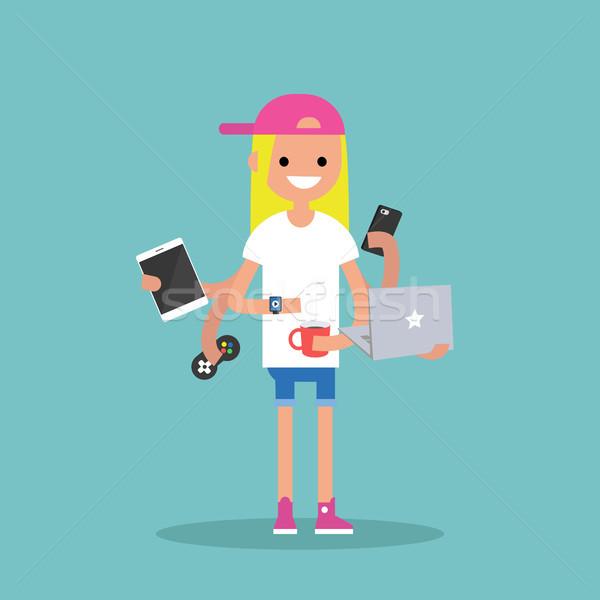Multitarefa jovem loiro menina dispositivos tempo Foto stock © nadia_snopek
