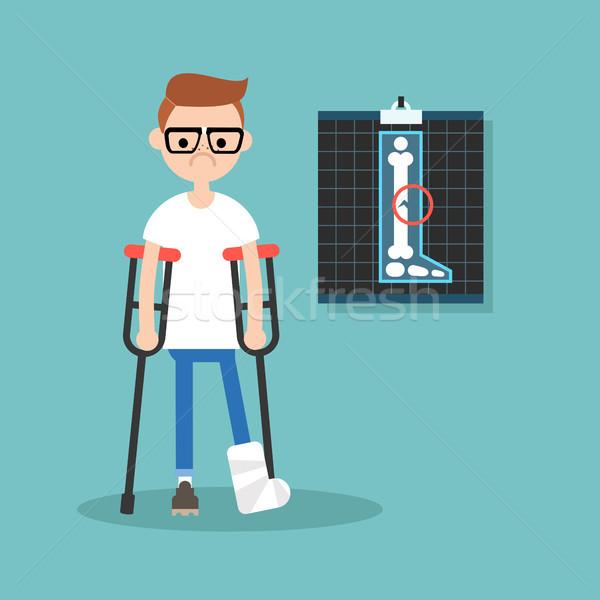 Stock photo: Disabled nerd on crutches with broken leg / editable vector illu