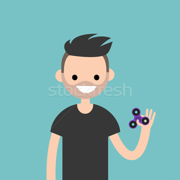 Young character spinning a hand toy. Stress relieving toy / flat Stock photo © nadia_snopek