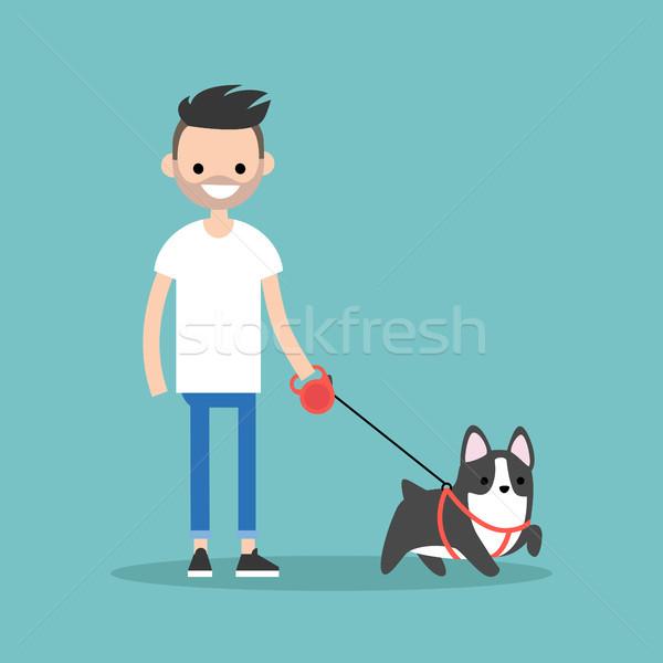 Jonge glimlachend bebaarde man lopen hond Stockfoto © nadia_snopek