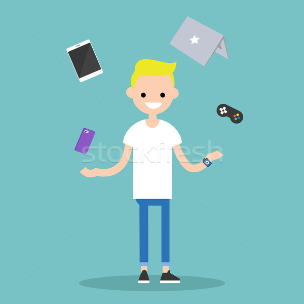 Young blond boy juggling electronic devices / editable flat vect Stock photo © nadia_snopek