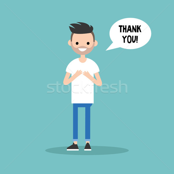 Young grateful bearded man says 'Thank you' / flat editable vect Stock photo © nadia_snopek