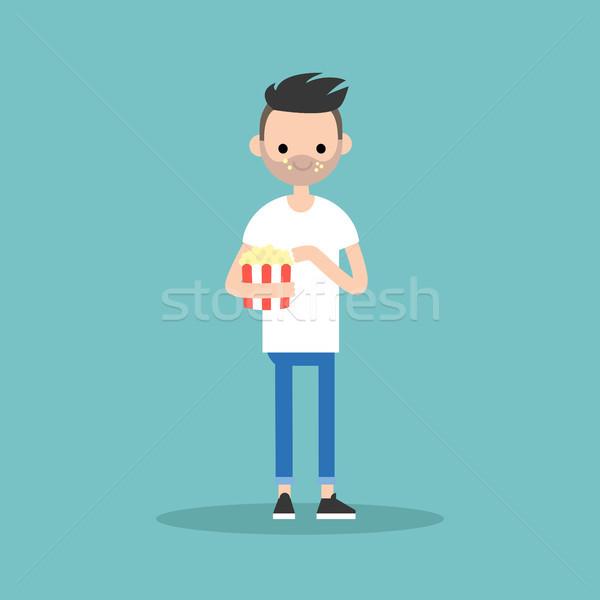 young bearded man chewing popcorn / full length character. flat  Stock photo © nadia_snopek