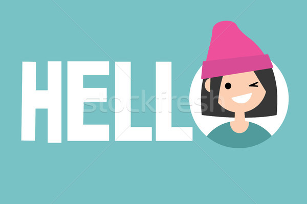 Smiling winking girl says Hello. Conceptual illustrated sign / F Stock photo © nadia_snopek