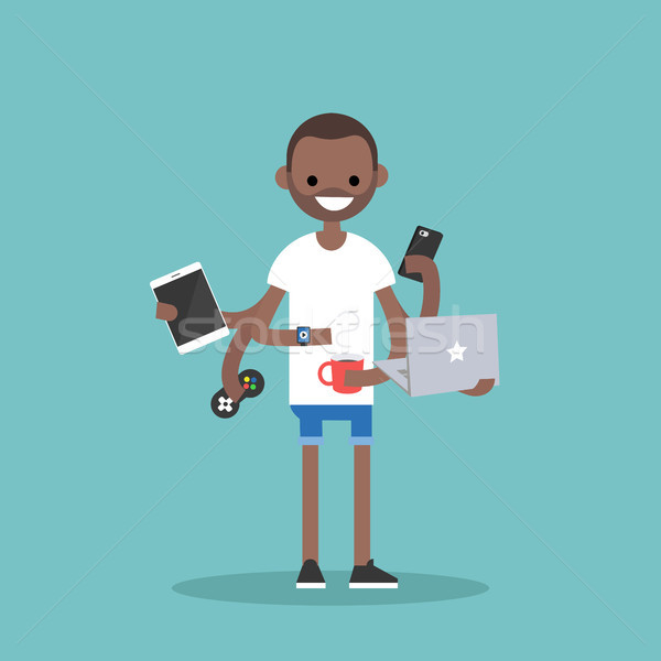 Stock photo: Multitasking millennial concept. young black man using a lot of
