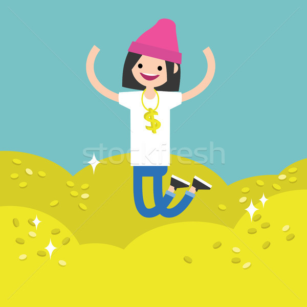 Wallow in money conceptual illustration: young brunette girl jum Stock photo © nadia_snopek