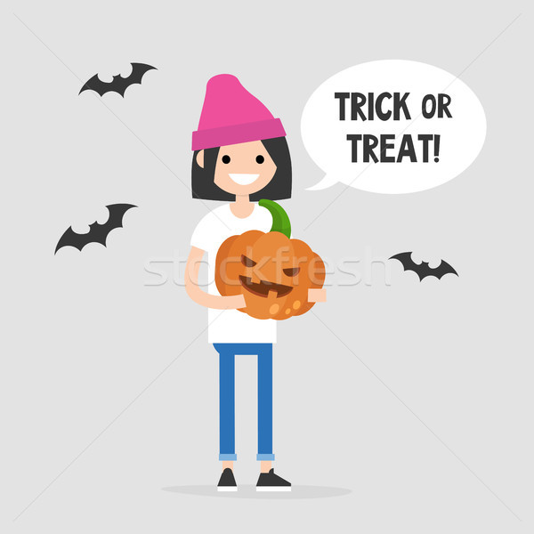 Stock photo: Trick or treat, Halloween illustration. Young female character h