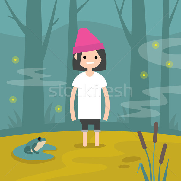 Young female character stuck in the swamp / flat editable vector Stock photo © nadia_snopek