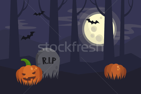 Full moon Halloween night, dark spooky graveyard and forest behi Stock photo © nadia_snopek
