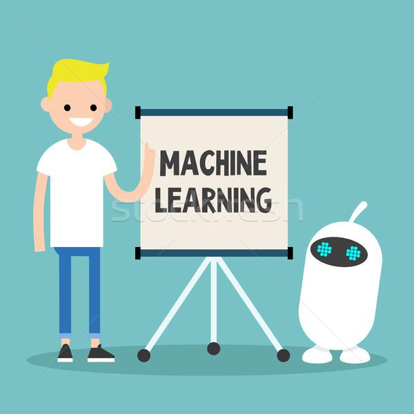 ストックフォト: マシン · 学習 · 実例 · 小さな · 文字 · 教育