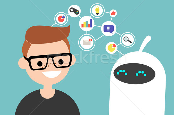 データ 転送 実例 人間 ロボット 通信 ストックフォト © nadia_snopek