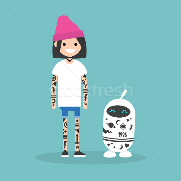 Tattoo subculture. Human and robot fully covered with tattoos /  Stock photo © nadia_snopek