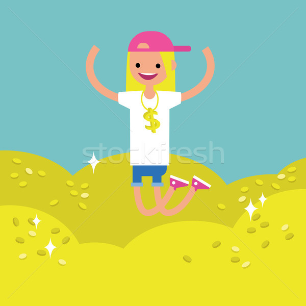 Wallow in money conceptual illustration: young lucky blond girl  Stock photo © nadia_snopek