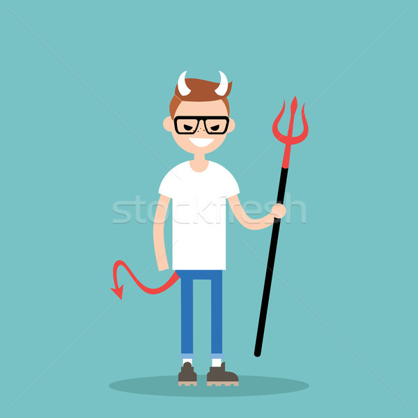 Young character wearing devil elements: horns, tail and trident  Stock photo © nadia_snopek