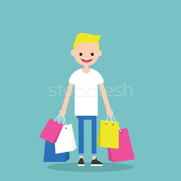 Stock photo: Young trendy blond boy holding shopping bags / flat editable vec
