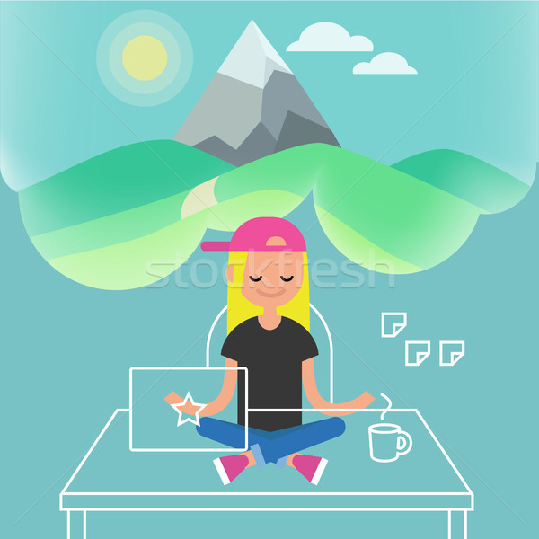 Dealing with stress. Young female character meditating in lotus  Stock photo © nadia_snopek