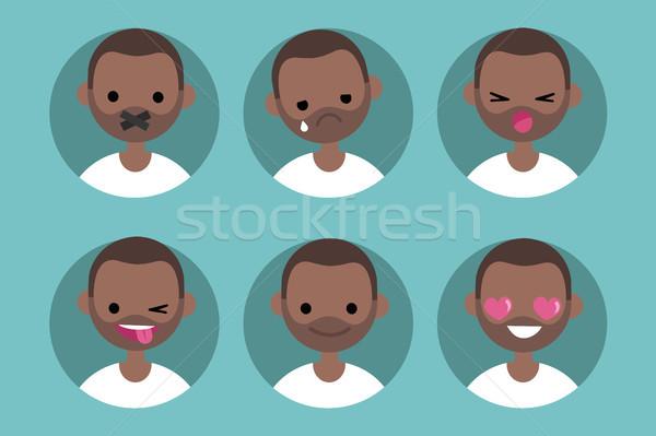 Genç siyah adam profil ayarlamak vektör portreler Stok fotoğraf © nadia_snopek