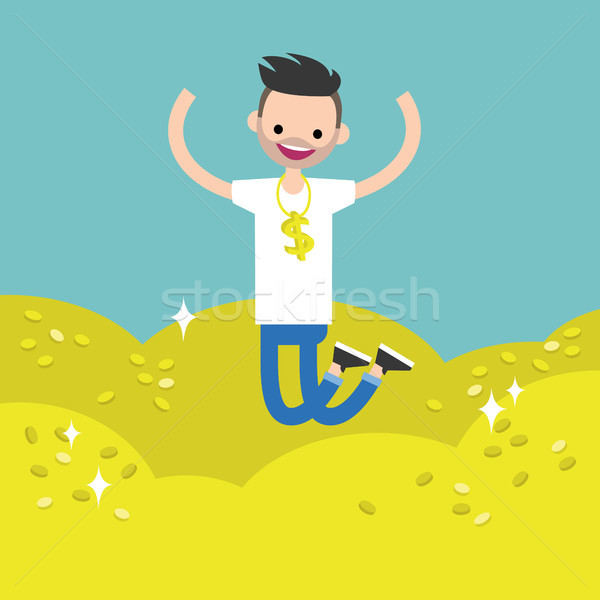 Wallow in money conceptual illustration: young lucky bearded man Stock photo © nadia_snopek