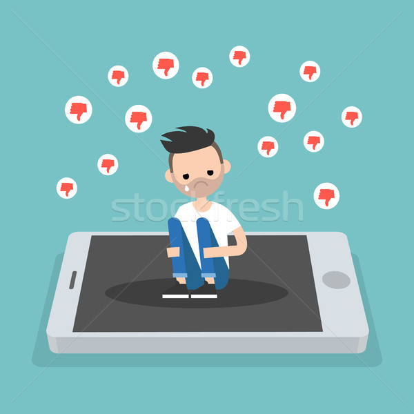 Upset crying bearded man sitting on the mobile's screen and hugg Stock photo © nadia_snopek